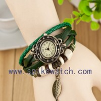 Green Color Free Shipping Vogue Leaf Pendant Leather Watch