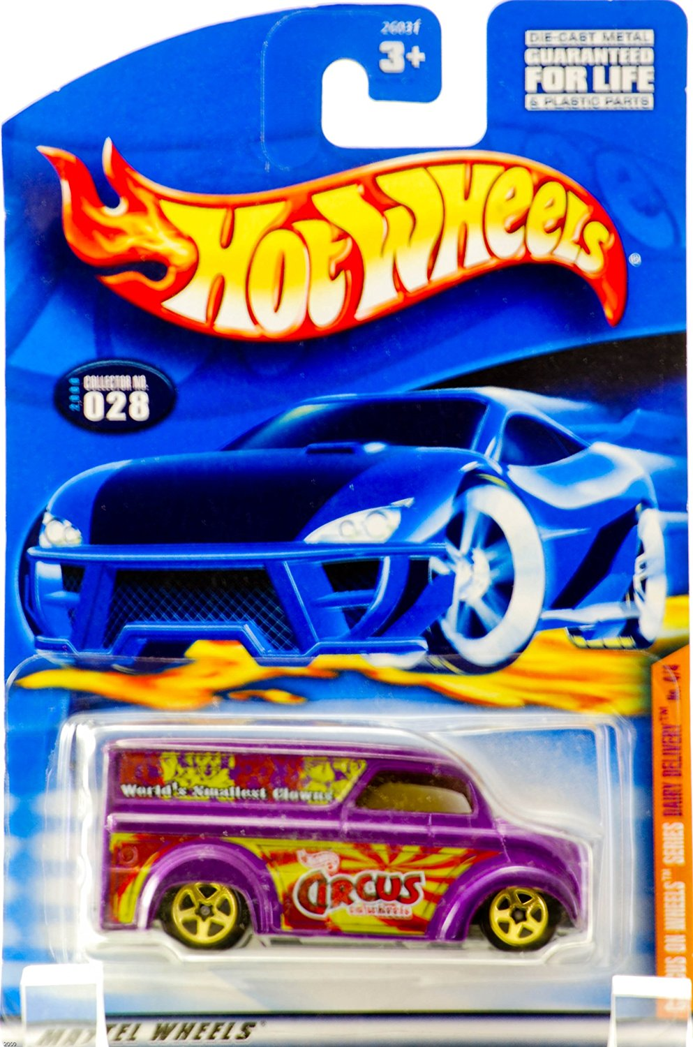 2000 - Mattel - Hot Wheels - Circus On Wheels - Dairy Delivery (World's Smallest Clowns) - Purple / Custom Gold Wheels - #4 of 4 - Collectors #028 - Yellow Tinted Windows - New - Out of Production - Limited Edition - Collectible