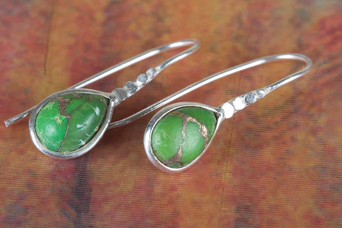 Green Turquoise Earring, Gemstone Earring, Bridal Earring, Nickel Free Silver, Handmade Earring, Unique Stone, Pear Shape Earring, Tear Drop Earring, Sterling Silver Earring, Statement Earring