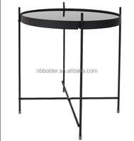Metal frame black coffee tea tray table with KD
