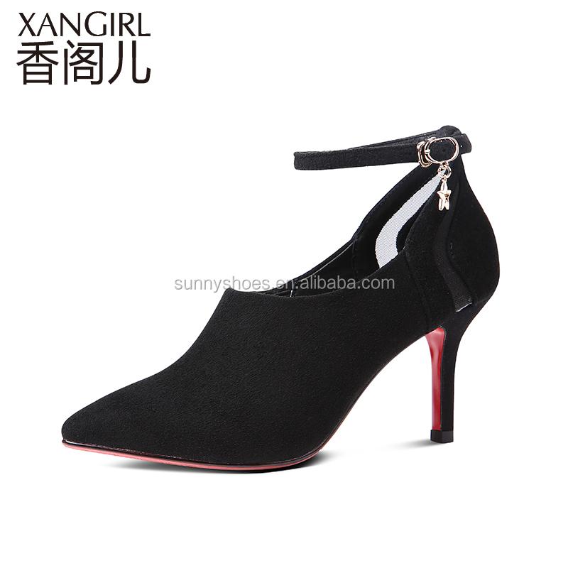 high red bottom heel women ladies leather Sexy suede shoe black tFXZwq