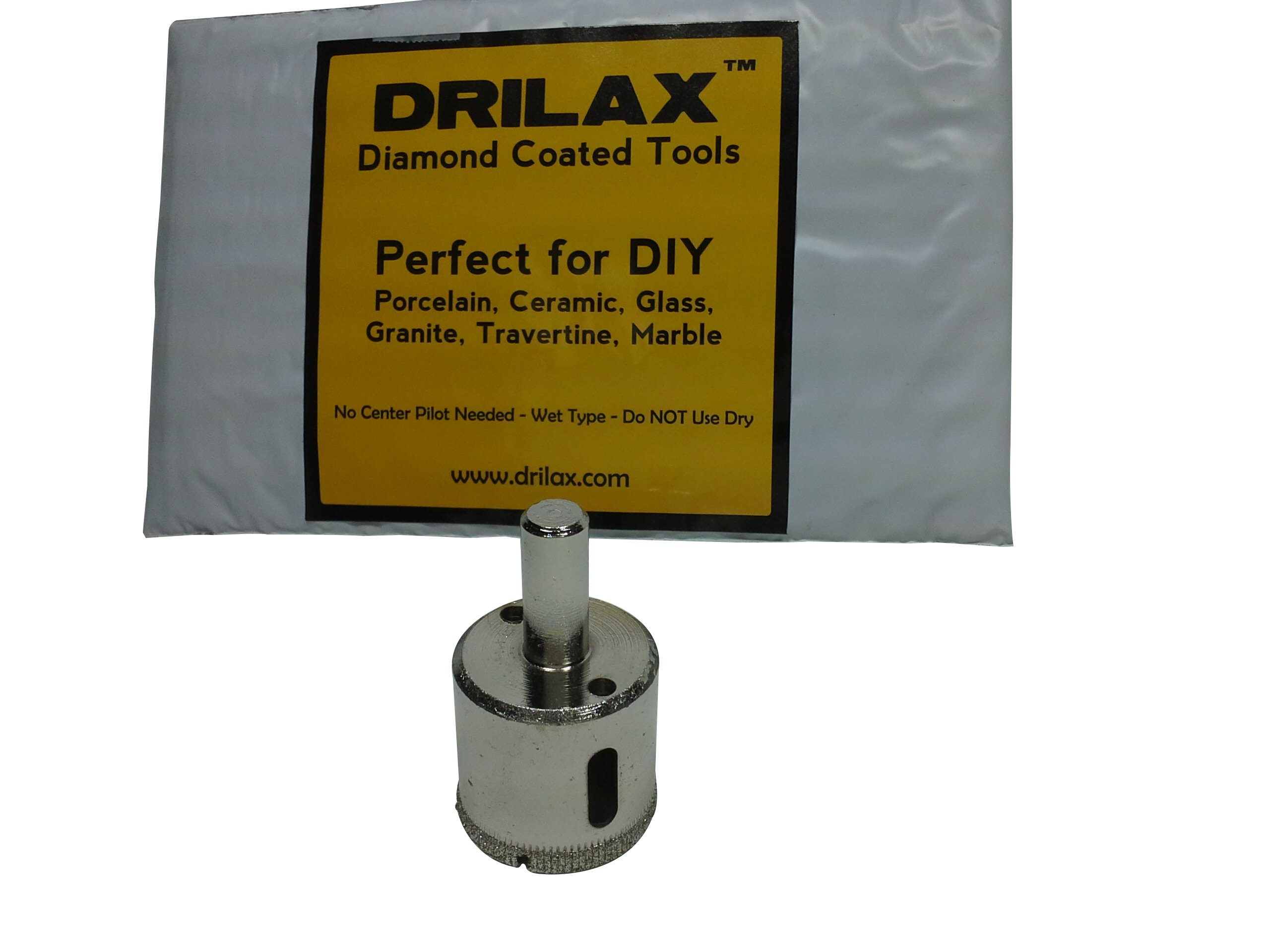 """Drilax 1 3/16 Inch Diamond Hole Saw Drill Bit Tiles, Glass, Fish Tanks, Marble, Granite Countertop, Ceramic, Porcelain, Coated Core Bits Holesaw DIY Kitchen, Bathroom, Shower, Faucet Installation Size 1 3/16"""" Inches"""