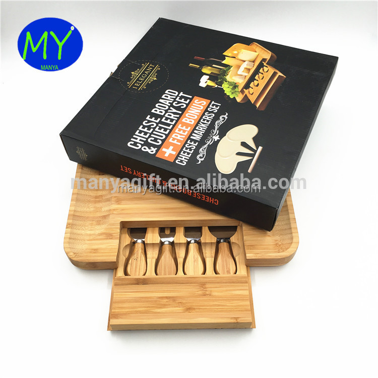 Natural Kitchen Bamboo Cheese Cutting Board With Drawer And 4 Utensils