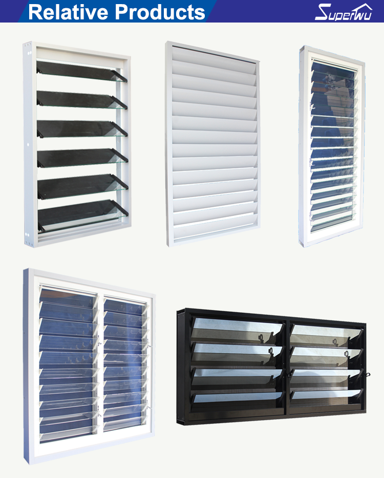 Shanghai customized aluminum windows and doors exterior glass louver shutter window