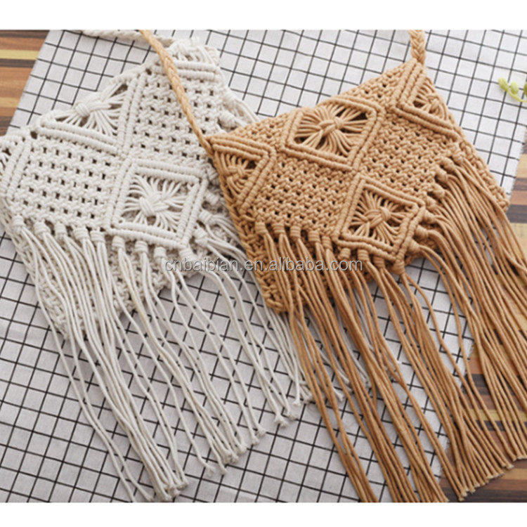 Straw Beach Bag Girls Circle Rattan bag Small Bohemian Shoulder bag Summer 2017 Vintage Handmade Crossbody