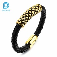 Plating Gold Stainless Steel Men's jewelry Cheap men Genuine leather wristband bracelet