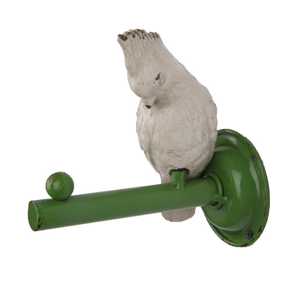 Vintage Parrot Metal Bird Wall Single Coat Hat Hook,White Green