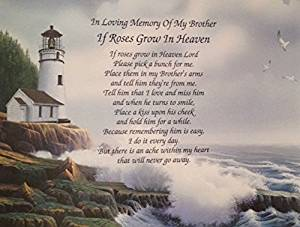 Buy In Memory Of Brother If Roses Grow In Heaven Memorial Poem