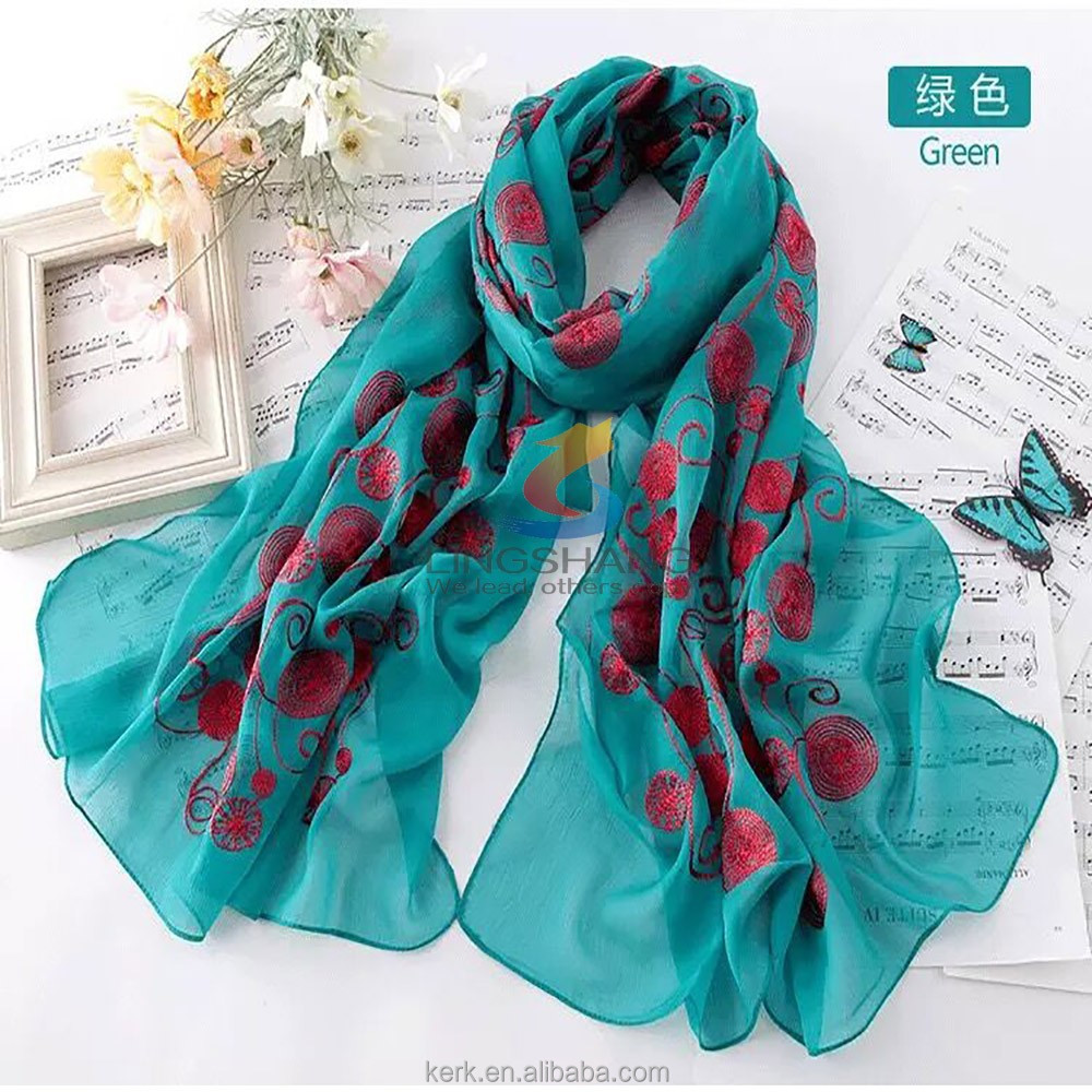New foulard women spiral pashmina Embroidered Lace Scarf Long Soft polyester Wrap Shawl bufandas W4028