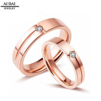 Couple Rose Gold Engagement Wedding Ring Commitment Eternal Zircon