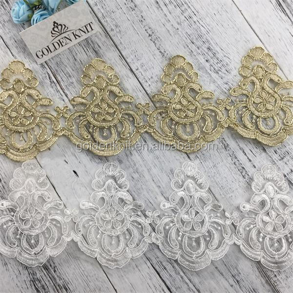 Golden Knit 9.5cm Width Bridal Embroidery Gold Trimming Lace LT397#