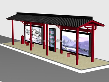 Modern Metal Bus Stop Shelter In High Quality With Waiting Chair
