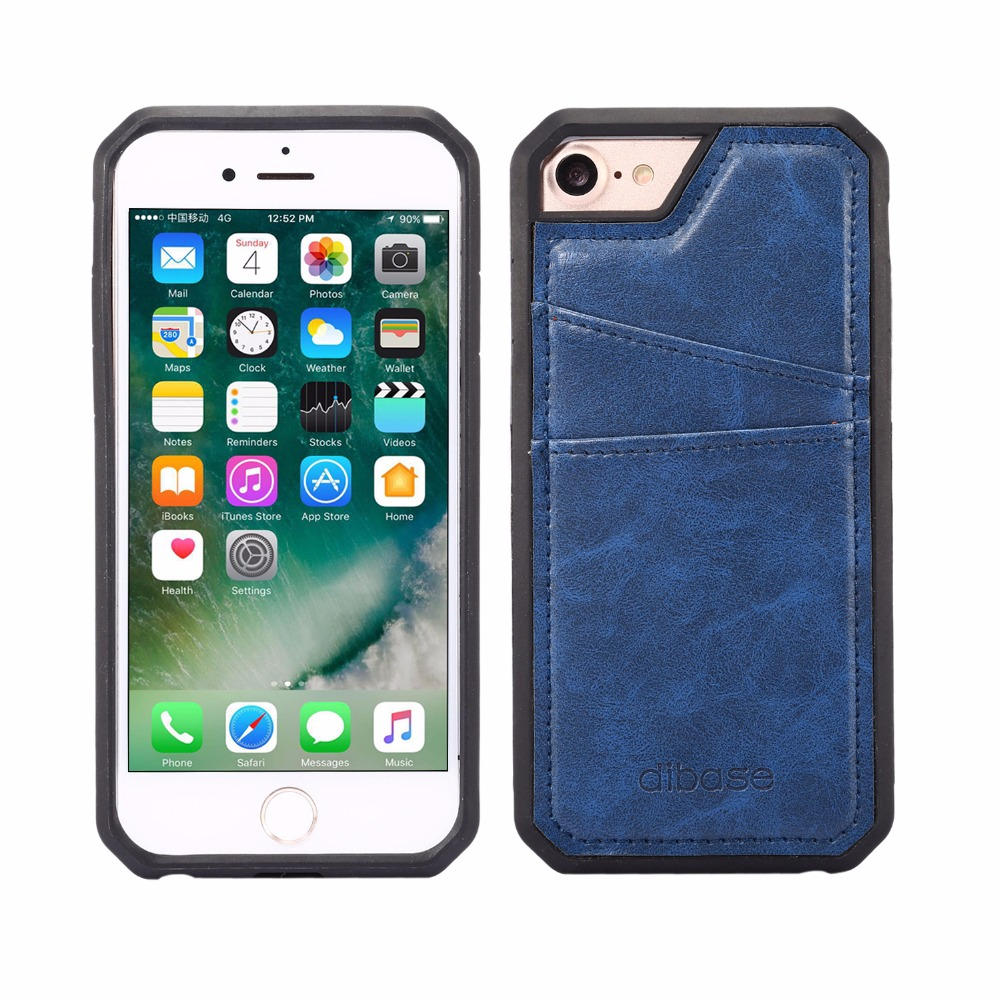 Fashion PU Leather&tpu Back Cover Case For Apple iPhone 7 Phone Cases With Outer Card Holder for iPhone7