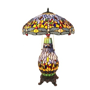 TFD-1725R Dragonfly Tiffany Style Stained Glass Table/Desk Lamp
