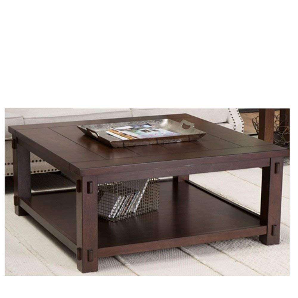 Square Wood Coffee Table In Espresso Finish Top Vintage Style Antique Svitlife