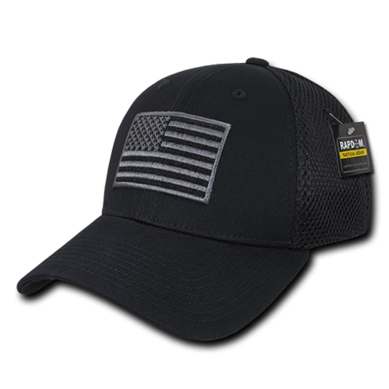 8835db1d4c7 Get Quotations · Black USA US American Flag Tactical Operator Mesh Flex  Baseball Fit Fitted Hat Cap