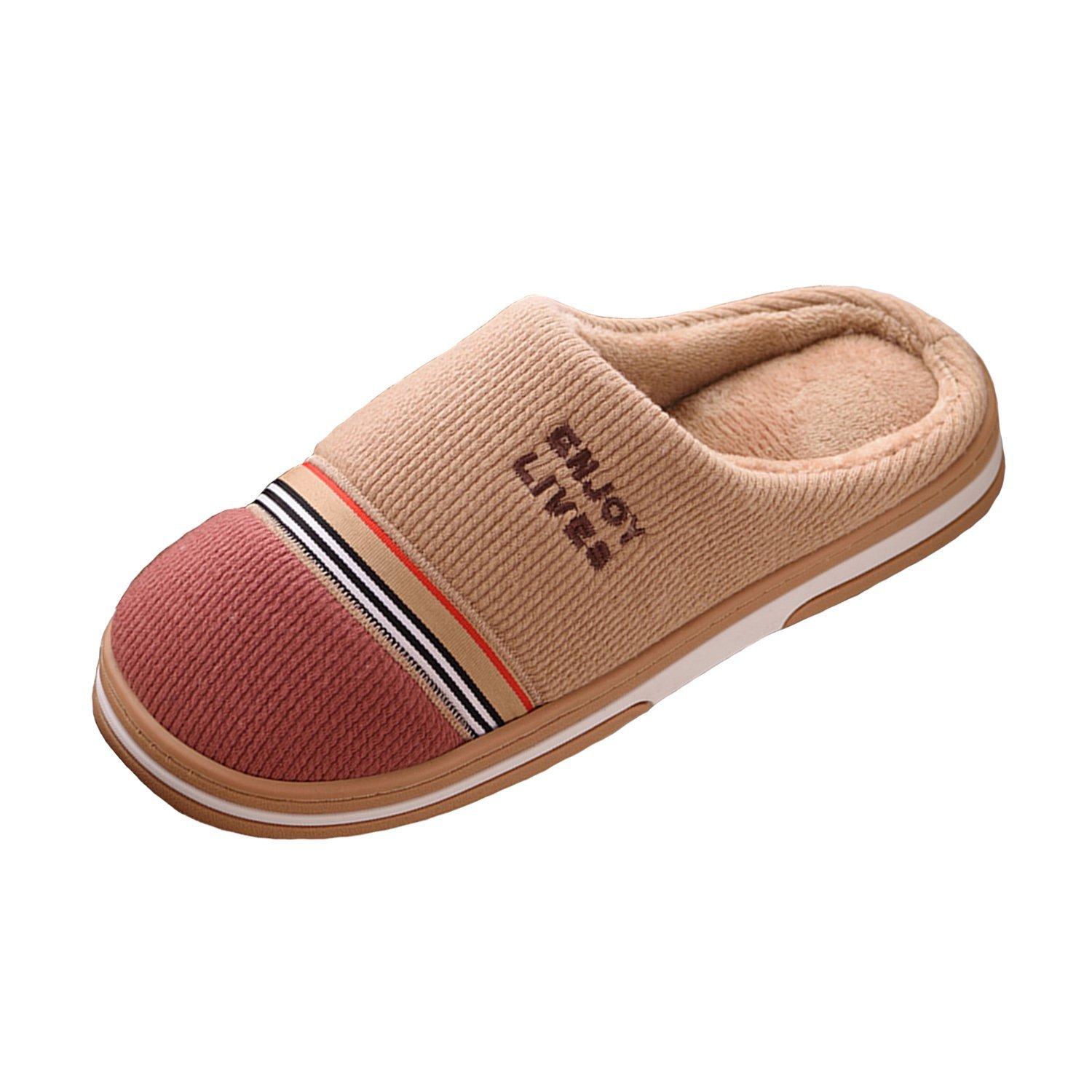 24f71bdcdcd Get Quotations · Womens and mens keep warm cotton slippers couple home non  - slip thick sole indoor room