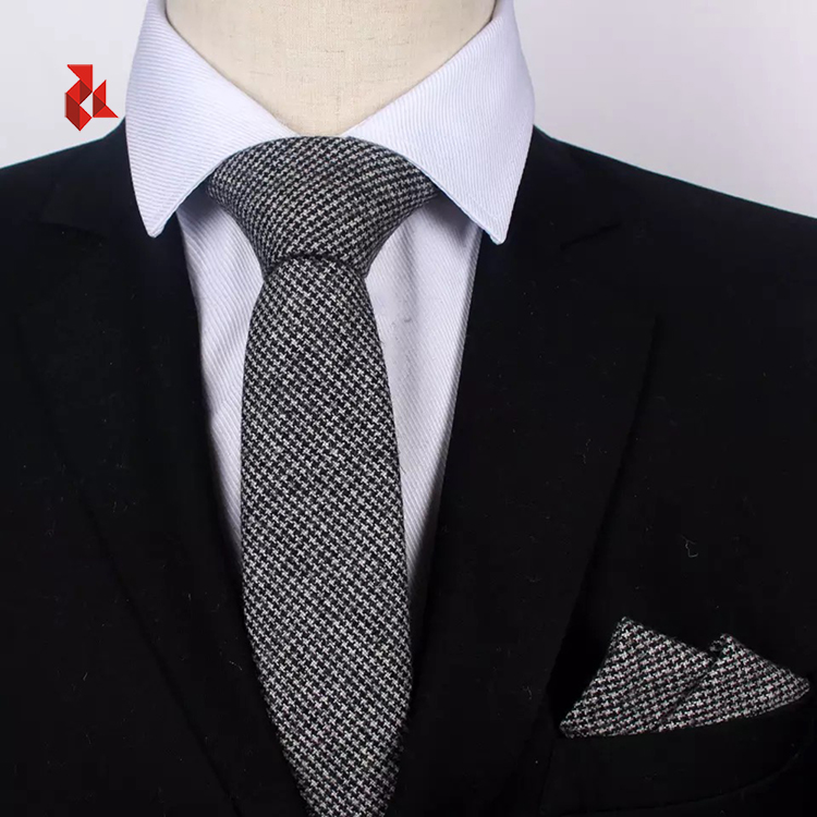 Fashion Wool Necktie and Pocket Square Many Color Solid Ties Set Gift Men
