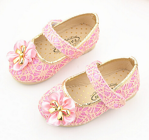 2015 Spring autumn new fashion all-match single princess bowtie flat shoes performance dress flowers glitter girls shoes