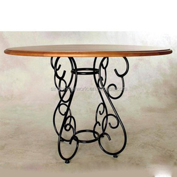Decorative Metal Table Base Solid Iron Dining Table Base With Round - Black metal dining table base