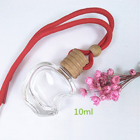 High quality apple shaped empty hanging car air freshener 10ml perfume glass bottle