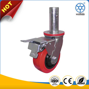 WBD Heavy duty pu caster wheels castor lock adjustable scaffolding caster