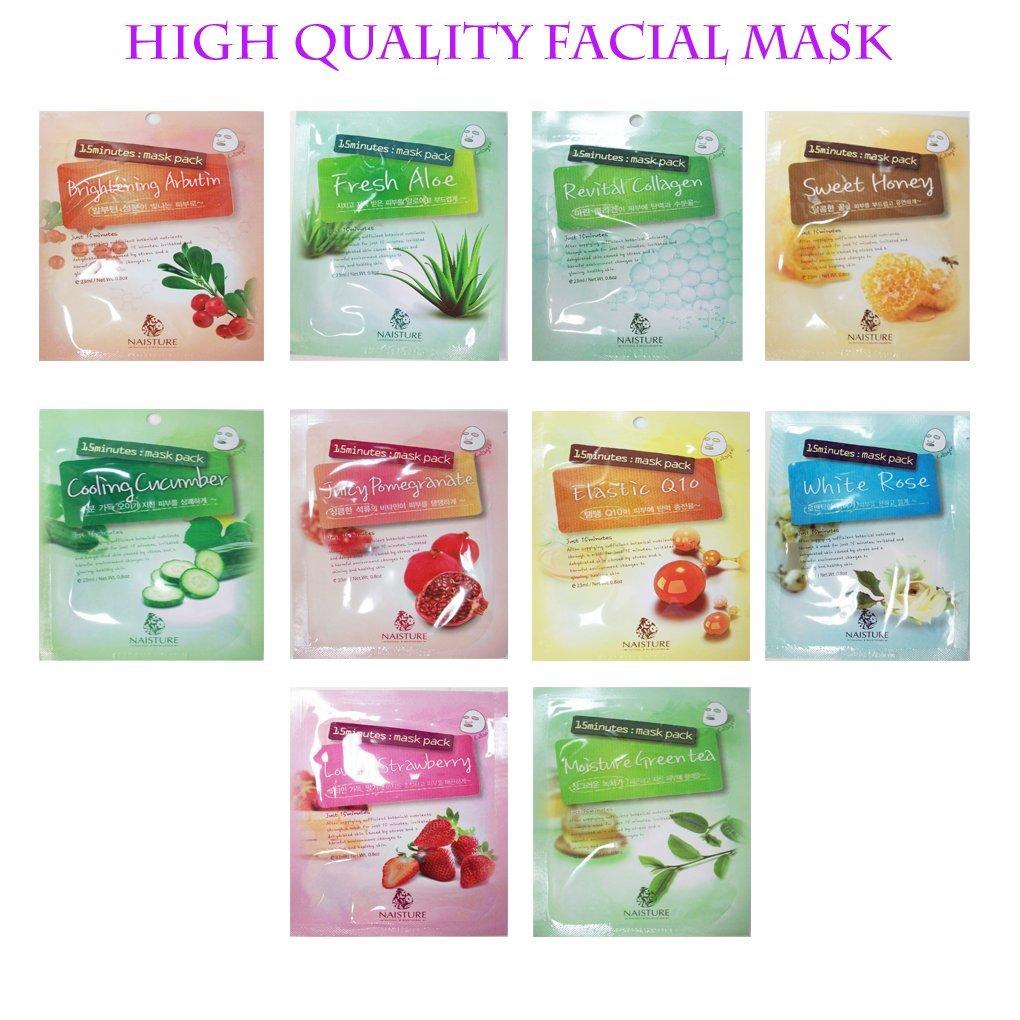 Naisture 15 Min. Collagen Essence Facial Mask Sheet Pack -10kinds 1set
