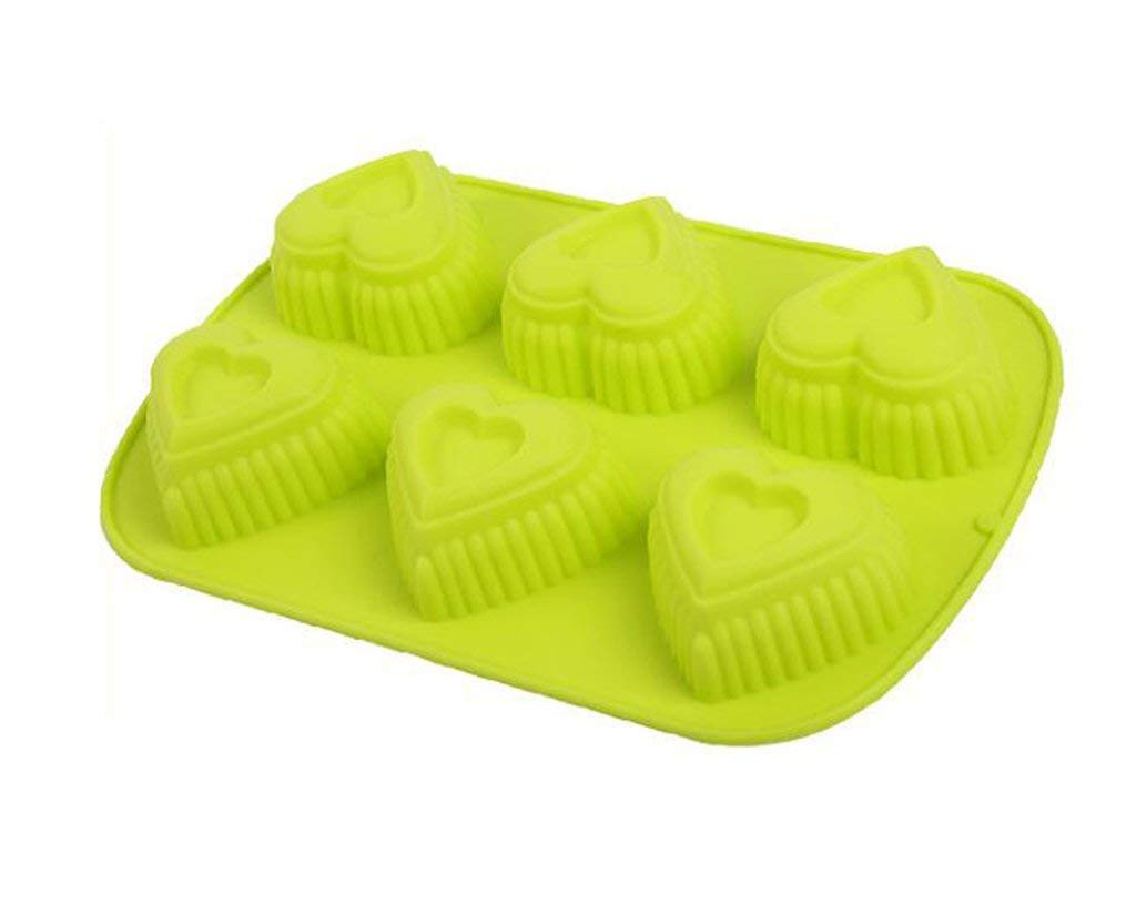 Always Your Chef Silicone Cupcake Baking Cups Handmade Soap Molds, Candy Molds & Chocolates Molds & Ice Cube Trays, Creative Heart Shaped, Random Color