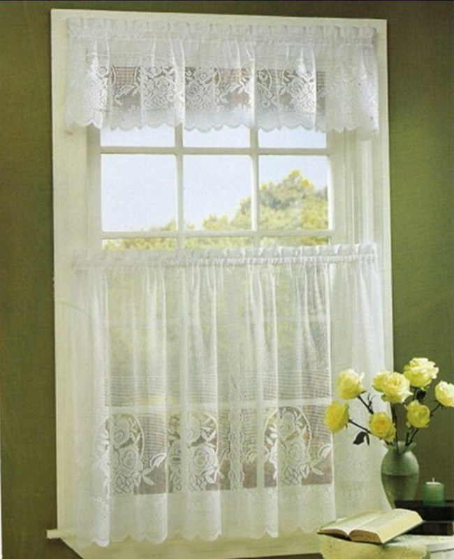 Tier Kitchen Curtain Swag Valance,Flower Lace Curtain 3pcs Kitchen Curtain  Tiers And Valance - Buy Lace Curtain,Tiers And Valace,Lace Kitchen Curtain  ...