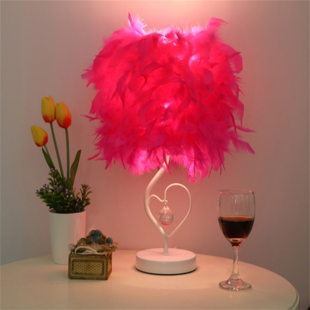 WENBO HOME- European style fashion simple creative small table lamp crystal feather table lamp -Desktop lamp ( Color : D )