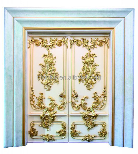French rococo style royal wood carved double entrace door for Royal classic house