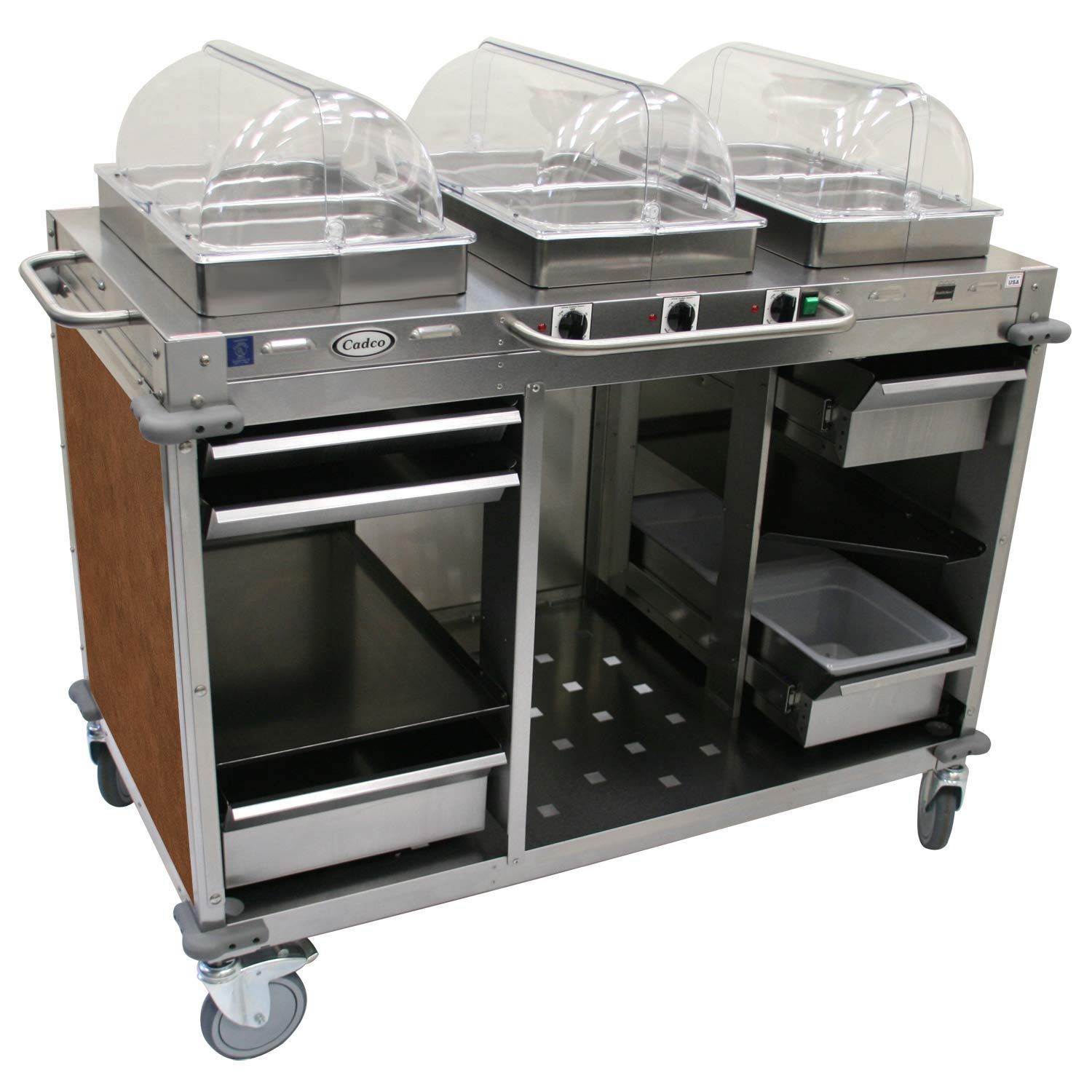 "Mobile Hot Buffet Cart Size: 49"" H x 55.5"" W x 28.75"" D, Color: Flame Soapstone Red"