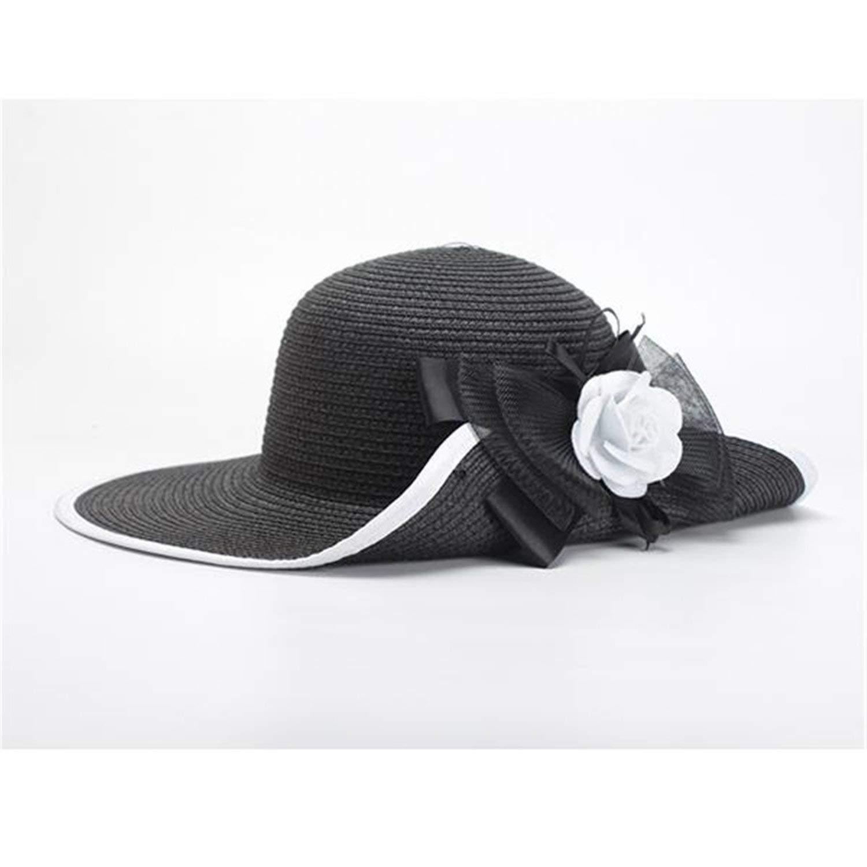 2581ad72f93 Get Quotations · Novel Women Black Sun Hats New Elegant White Flower Summer  Hat Ladies Beach Cap Chapeau Femme