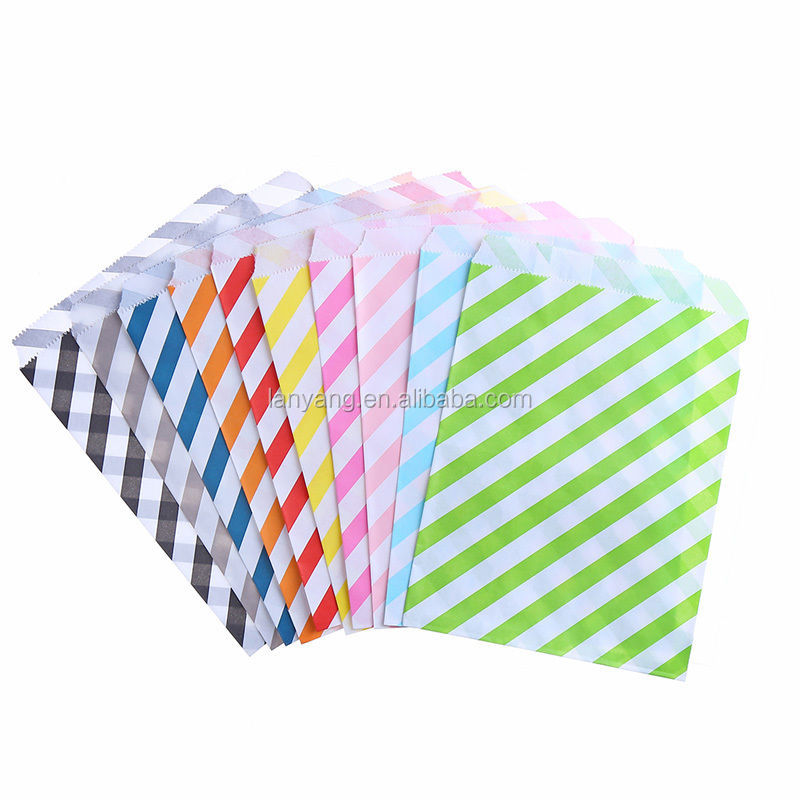 Favor Paper Bags Striped Food Saft Craft Treat Candy Bags Decor