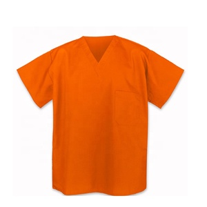 Cheap poly cotton V neck Hospital uniform suit prison workwear