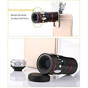 Universal 4 In 1 Clip-on Telephoto Fish Eye Macro Wide Angle Mobile Phone Lens Camera kit for iPhone 4 5 6 Samsung S4 S5 note2 3 MOTOROLA (Black)