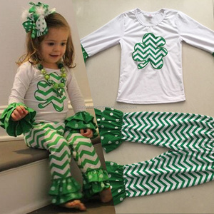Wholesale kids outfit clover applique green chevron children girls st particks day clothing set
