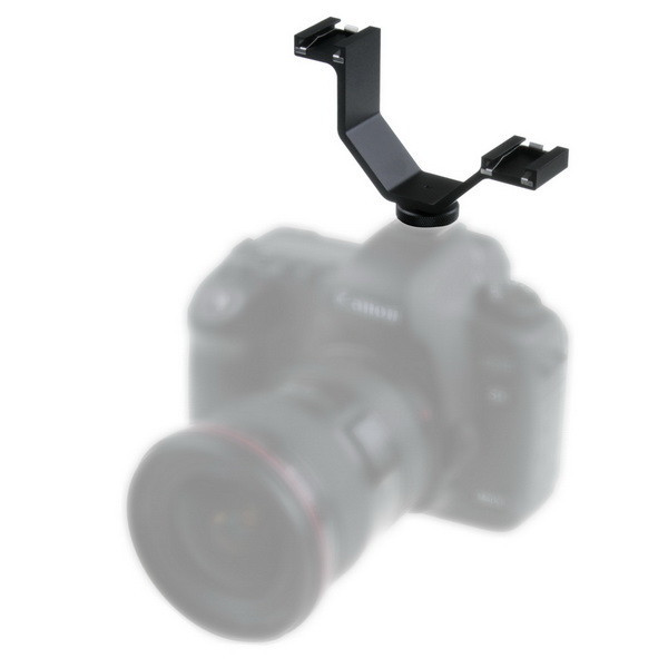 V Mount Flash Bracket Stand Triple Hot Shoes for Camera Video Light Camcorder Mic