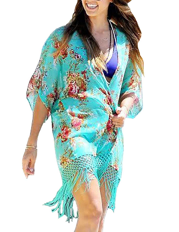 bad702f3f13 DEPLO Summer Womens Floral Print Chiffon Bathing Suit Swimwear Bikini  Swimsuit Beach Wear Cover up Tassel