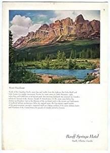 Banff Springs Hotel Restaurant Menu Mount Eisenhower 1954 Alberta Canada