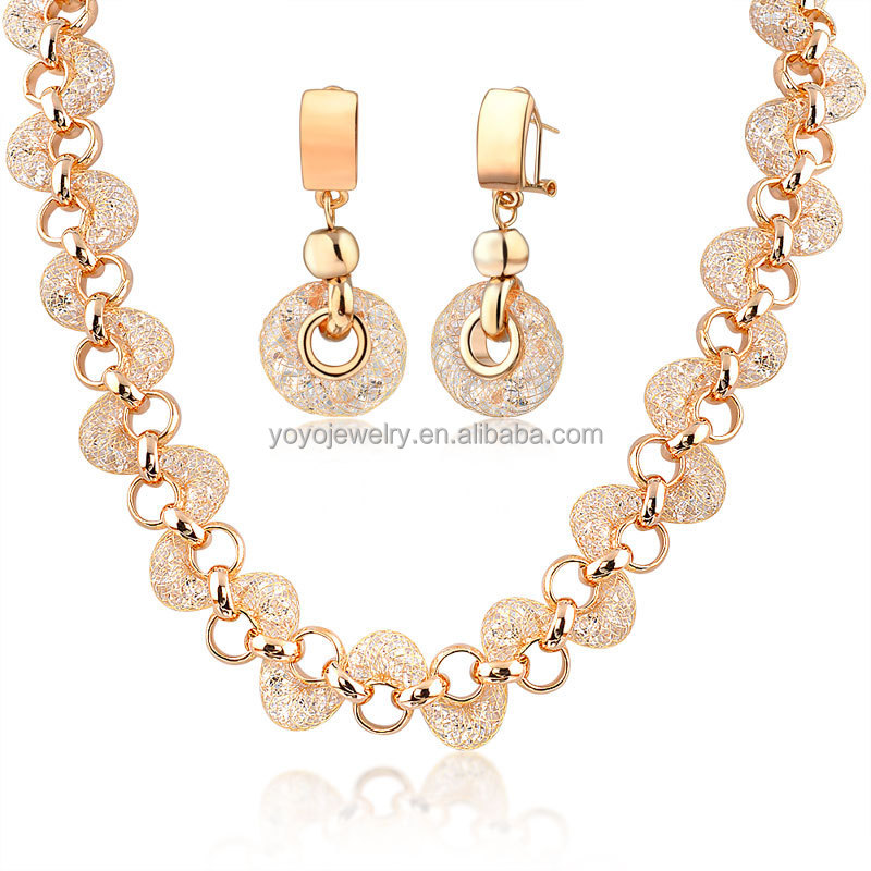 New mesh design dubai gold jewelry with earring and necklace set ...