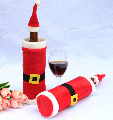 new products item Chinese supplier Merry Christmas ornaments decorating yiwu fabric wool felt wine drawstring bag