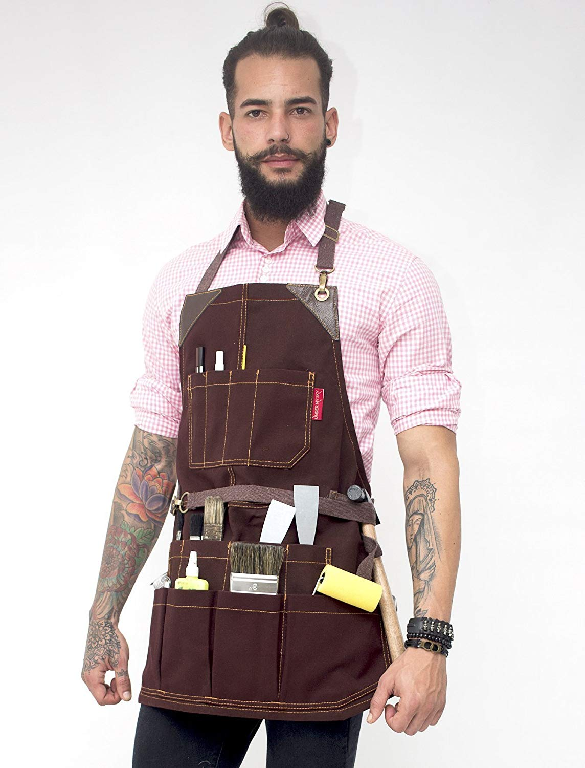 Tool Brown Apron – Heavy-Duty Waxed Canvas, Leather Reinforcement, Extra Pockets – Adjustable for Men and Women – Pro Mechanic, Woodworker, Blacksmith, Plummer, Electrician, Welder Aprons