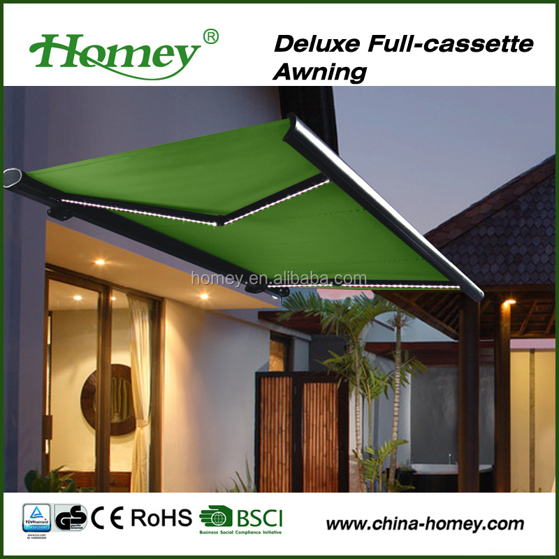 Outdoor garden design awning roof top tent awning sun and rain protection awning with LED light