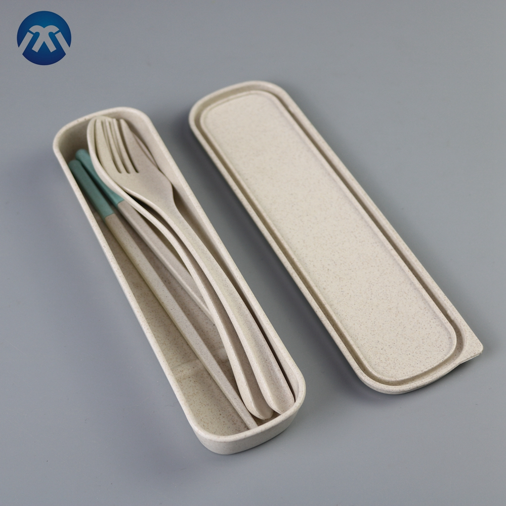 Healthy Biodegradable Spoon Fork And Chopstick Tableware High Purity Wheat Straw Cutlery