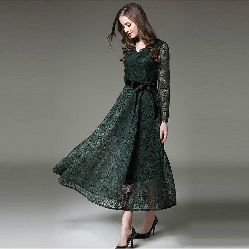 Elegant modern lady 2018 autumn winter women long sleeve lace dress