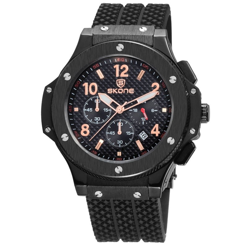 Best Selling Men's Top Brand Skone 5144 Chronograph Silicone Watches Men