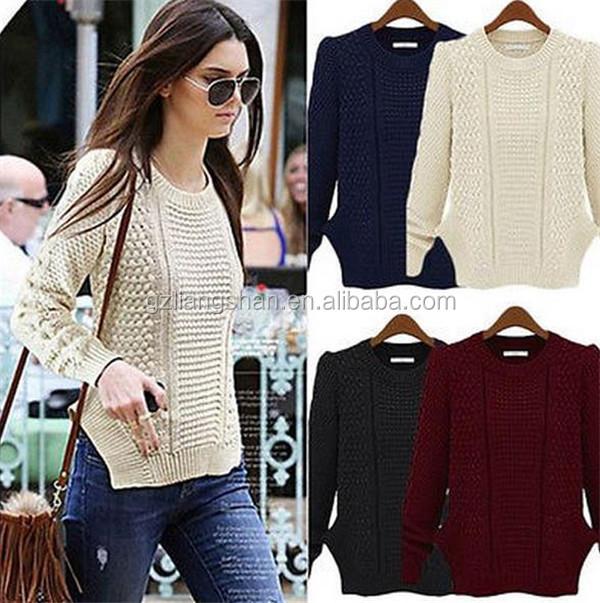 Moda europea mujeres suéter de lana nuevos diseños para las señoras suéter  blanco ... b7cb8c08b639