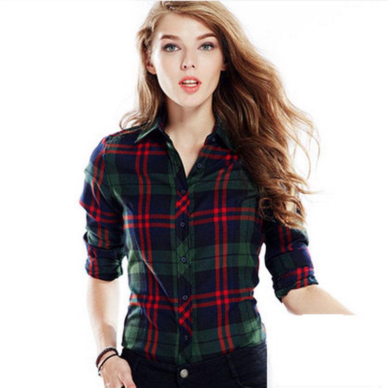 Get Quotations · New arrival 100% Cotton Plaid Blouses Shirts Women Outwear Long  sleeve Flannel Tartan Shirts 2015 a867d716a873