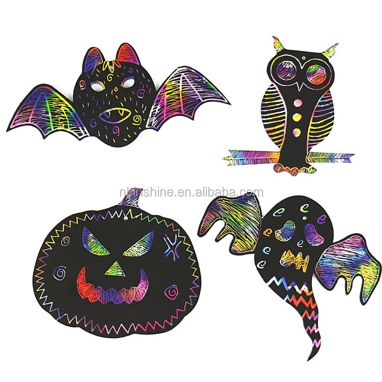 CU2315 Halloween Scratch And Draw Kit , Magic Color Halloween Scratch Card